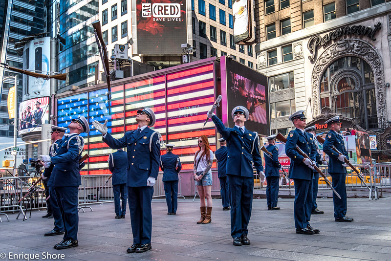 US Coast Guard members perform Silent Drill in Times Square
