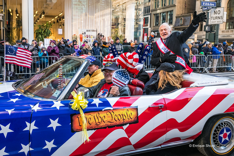 Grand Marshal Aldrin waves at Veterans Day Parade 2017 in New York City
