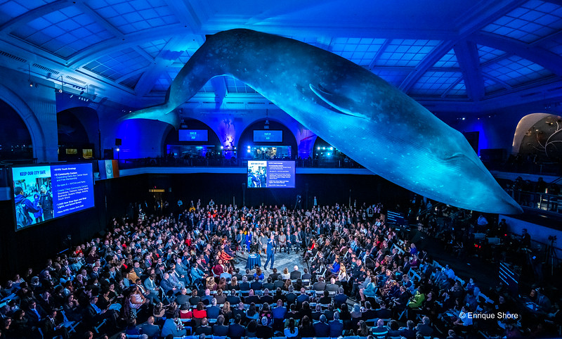 New York Mayor De Blasio delivers 2020 State of the City Address below a blue whale at the American Museum of Natural History