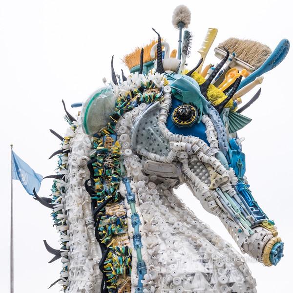 Sculpture at UN Ocean Conference is made of marine debris
