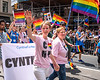 Cynthia Nixon and wife at Pride march in New York City