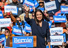 Alexandria Ocasio-Cortez arrives at Bernie Sanders campaign rally in Queens