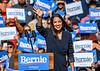 Alexandria Ocasio-Cortez arrives at Bernie Sanders campaign rally in Queens