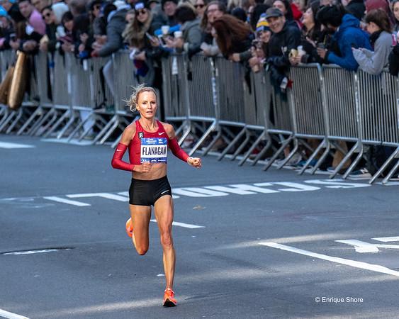 Flanagan races during NYC Marathon