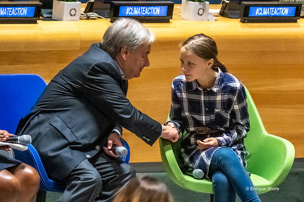 UN Sec-Gral Guterres shakes hands with Greta Thunberg at  Youth Climate Summit, New York, USA
