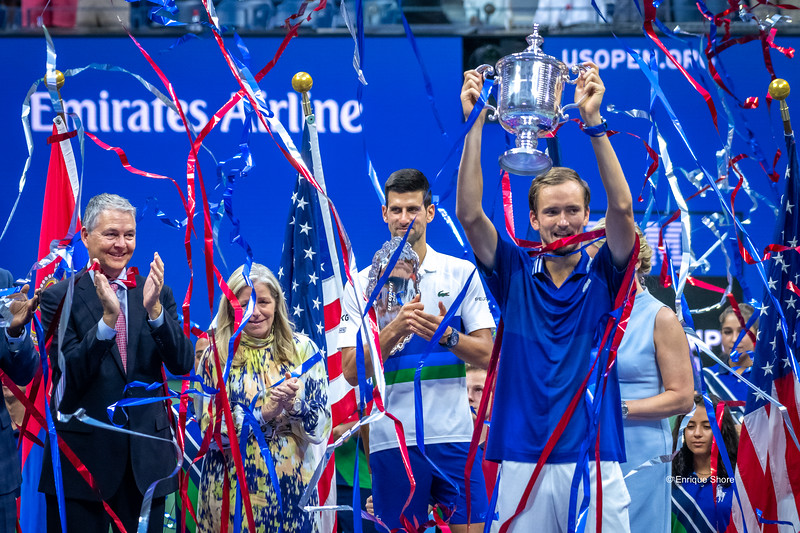 Winner Medvedev receives trophy at the US Open