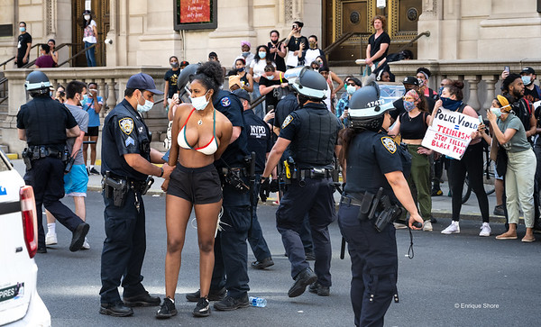 Arrests during protest against police brutality in New York city.