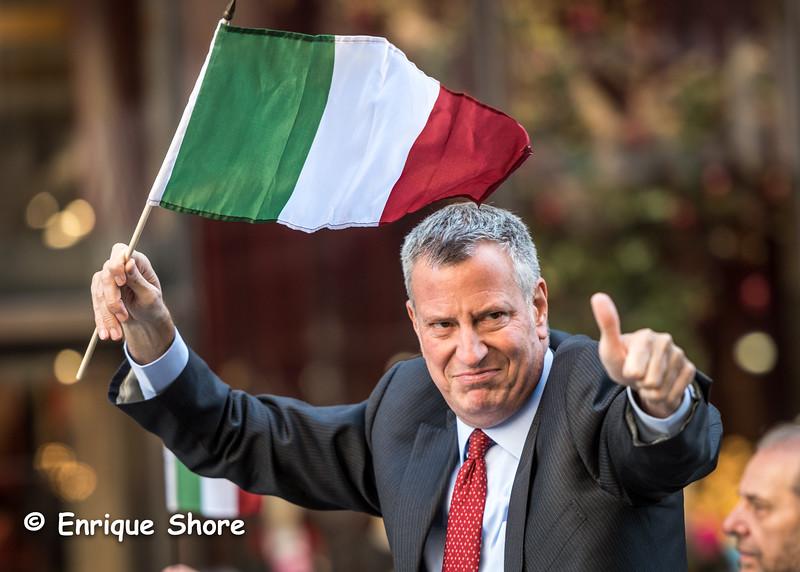 New York Mayor Bill de Blasio waves during Columbus Day Parade 2016