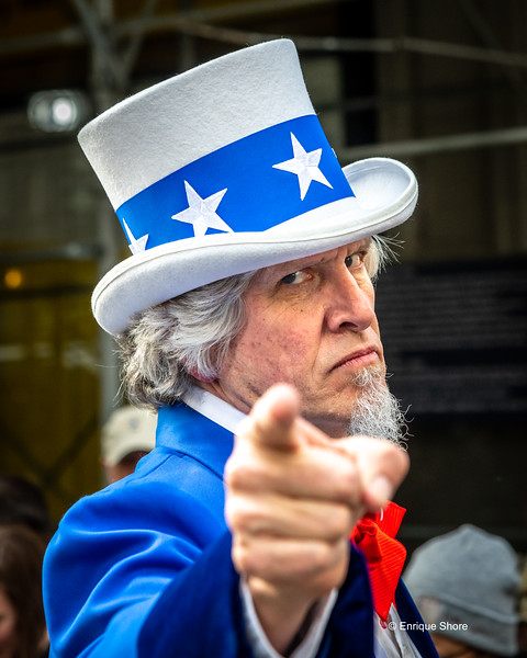 Uncle Sam impersonator at Veterans Day Parade, New York, USA