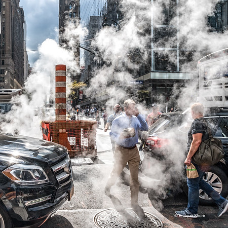Challenging street crossing in NYC