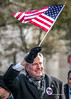 Mayor De Blasio waves flag at Veterans Day Parade 2017 in New York City