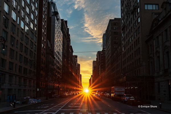 Manhattanhenge sunrise in New York city