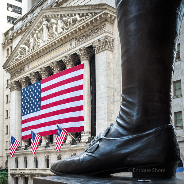 New York Stock Exchange is decorated with US flags for Independence Day