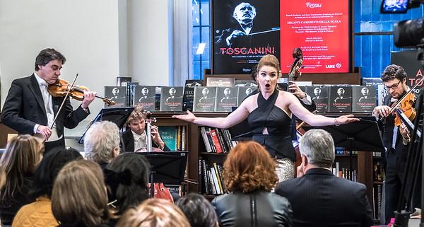 Cameristi della Scala and soprano Marcu perform at Toscanini event at New York's Rizzoli.