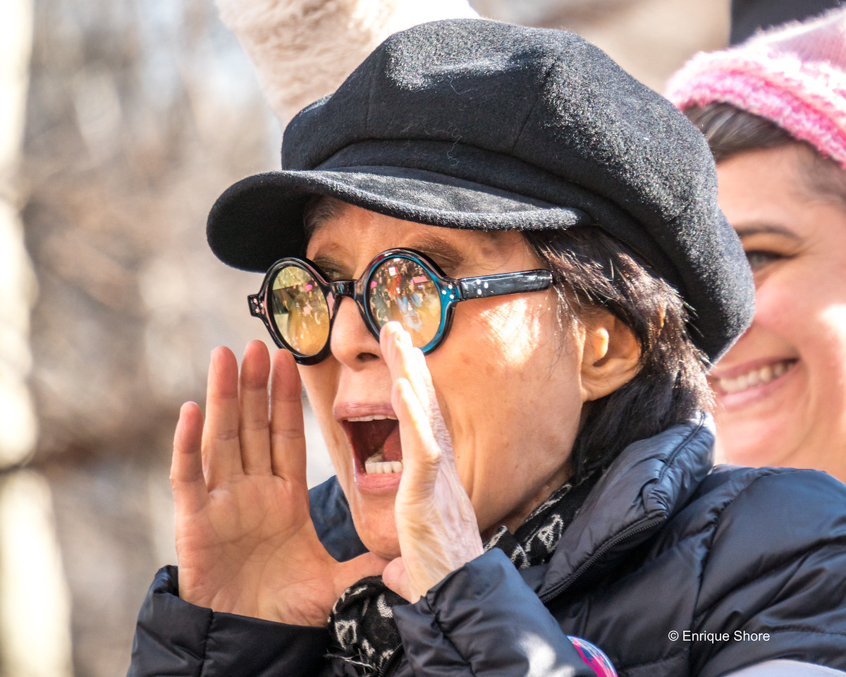 Yoko Ono addresses Participants at the Women's March in New York City