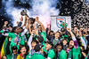 NY COSMOS players celebrate after winning the 2015 NASL championship.  Photo by Enrique Shore