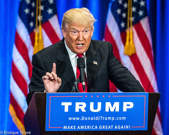 Donald Trump speaks in New York