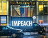 Truck displays IMPEACH in front of Trump Tower, New York, USA