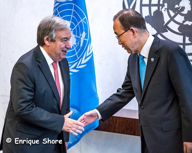United Nations Secretary General Ban Ki-moon greets his successor designate Guterres