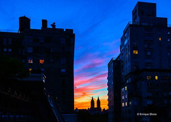 Sunset over Manhattan, New York, USA