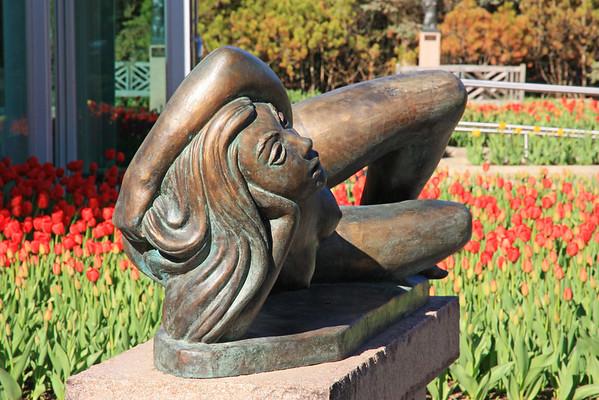 Reclining Girl In Tulips, Leo Mol Sculpture Garden