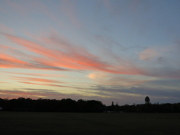 Wispy Pink Clouds Over Pavilion
