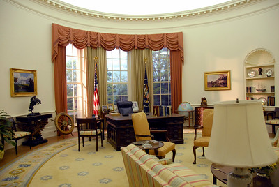Recreation of the White House oval office during the Ford administration.  /  .This is the office of the ACL President.