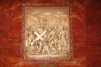 One of the stations of the cross in the chapel