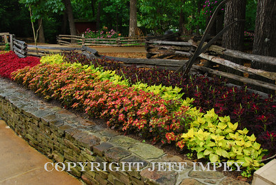 Flower bed along a walkway in Silver Dollar City in Branson, Missouri.