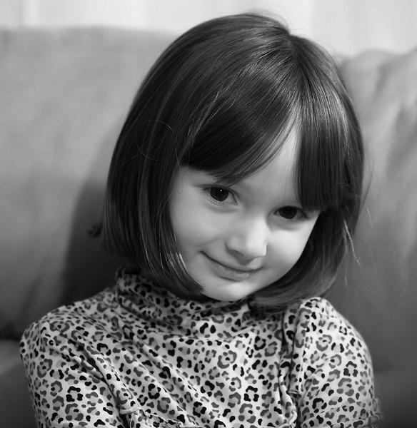 Simple portrait of Megan, in black & white.