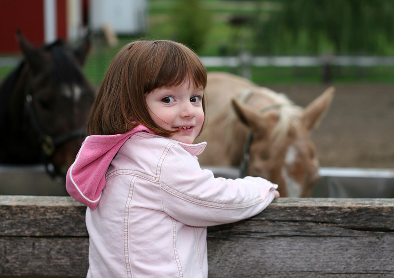 Megan with the horses, at the farm in Orland, in fall of 07.