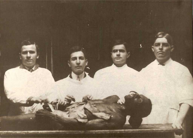 Edgar Reynolds (1st on Left) - Edgard Reynolds ( Dan\'s father\'s Uncle) in Med School.
