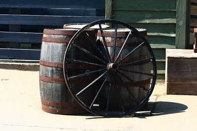 Old barrels and wagon wheel