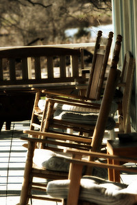 Rocking chairs on porch, Samual Farm Park, Sunnyvale, Tx.
