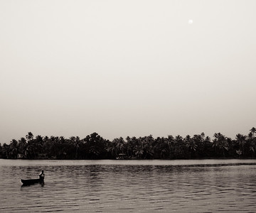 Moon-Rise over Lake - Kerela, India