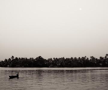 Moon-Rise over Lake - Kerela, India