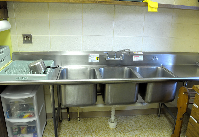 From the right - wash, rinse and sanitize sinks.
