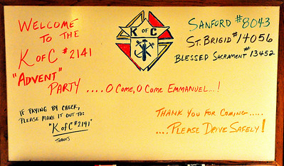 Entry sign to the December 9, 2010 Knights of Columbus Christmas party.