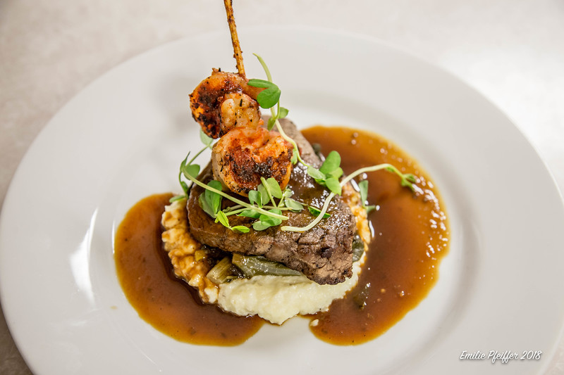 Shrimp, Beef Tenderloin, Swiss Chard over Grits