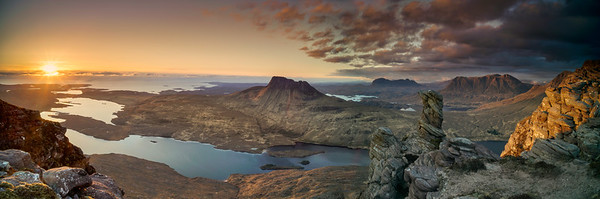 Sunset Panoramic view of Assynt landscapew