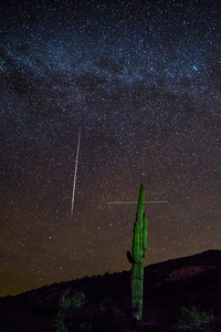 Biggest darn meteor I've ever caught with the camera!! Unfortunately, I also caught a plane.