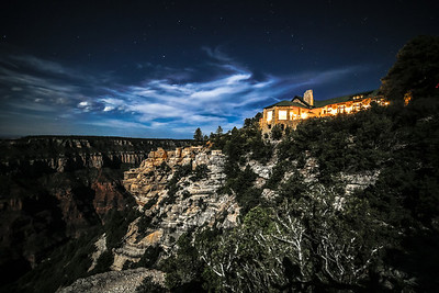 Full moon night at the North Rim Lodge, Grand Canyon.