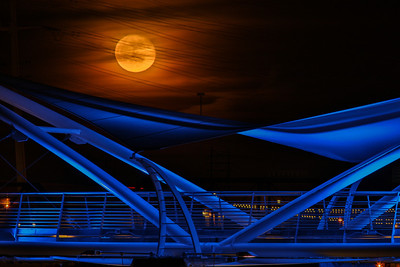 Moon over Tempe Town Lake footbridge.