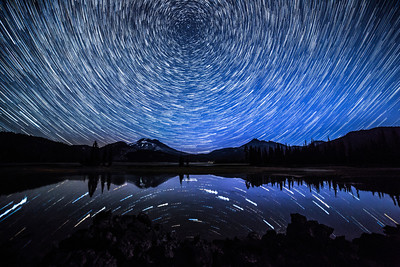 South Sister and Broken Top peaks over Sparks Lake, OR