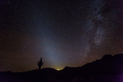 Zodiacal lights and Jupiter at Gila Mountains west of Phoenix, AZ