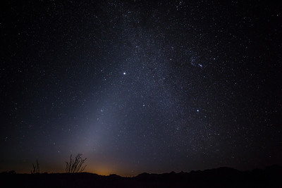 Fall morning Zodiacal Lights at KOFA National Wildlife Refuge, AZ