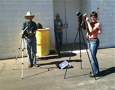 Seting up behind the lab for viewing of the Transit of Venus on June 5, 2012