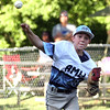 ROBERT GURECKI   -   Digital First Media<br /> Aston Middletown Quinten Perilli throws to first on a routine infield play during District 19 playoff against Tanney.