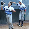 ROBERT GURECKI   -   Digital First Media<br /> Aston Middletown's Sam Benvignati, left, gets a big pat on the head from teammate Jake Moule after scoring on a home run against Taney in the second round of the Little League playoff at Aston Middletown's field, Aston.