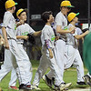 ROBERT GURECKI   -   DFM<br /> Newtown Edgmont Little League players march off the field celebrtating their win over Aston-Middletown in the District 19 winners bracket.